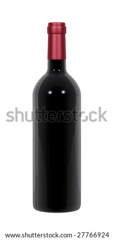 A standing wine bottle isolated on a white background