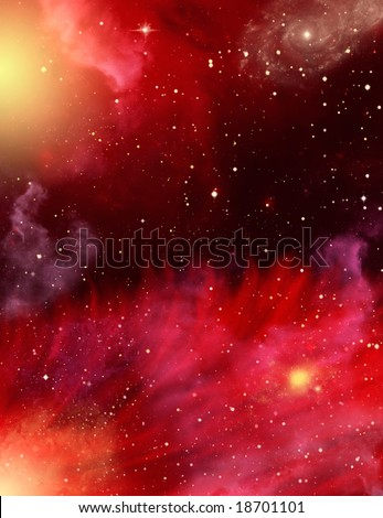 A star field with red and purple nebulaes.