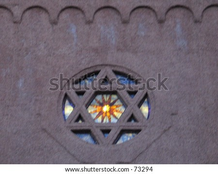 A Star of David on a Synagauge - stock photo