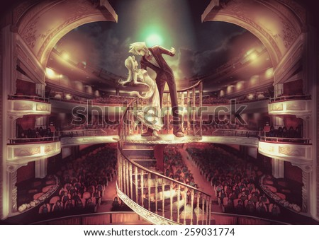 A staring couple are performing love scene show in grand the theater with fantasy atmosphere, in retro color style - stock photo