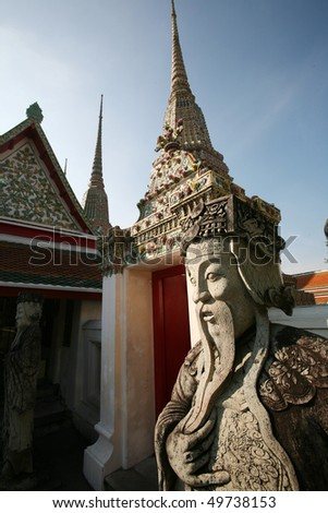 A statue at the Grand Palace is a complex of buildings in Bangkok, Thailand. It served as the official residence of the Kings of Thailand from the 18th century onwards.