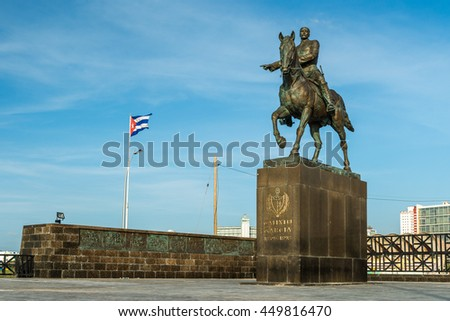 A statue of Calixto Garcia, a three star general who fought for Cuban independence, stands along the Malecon in Havana, Cuba.