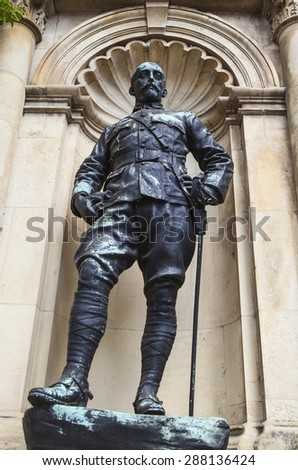 A statue of Prince Christian Victor in Windsor.  Prince Christian Victor was a grandson of Queen Victoria and a royal soldier who insisted on fighting alongside his men. - stock photo