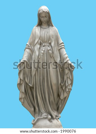 A statue of saint Mary isolated against blue background - stock photo