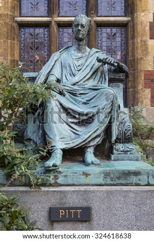 A statue of William Pitt The Younger outside Pembroke College in Cambridge, UK. - stock photo