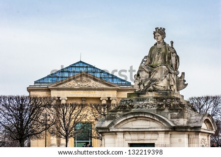 A statue on the Concorde Square near the Tuileries Garden, Paris, France. This statue represents the city of Marseille - stock photo