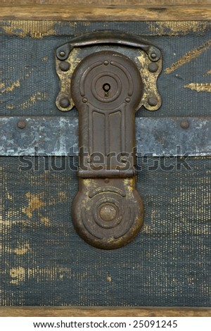 A steamer trunk lock from 1889. - stock photo