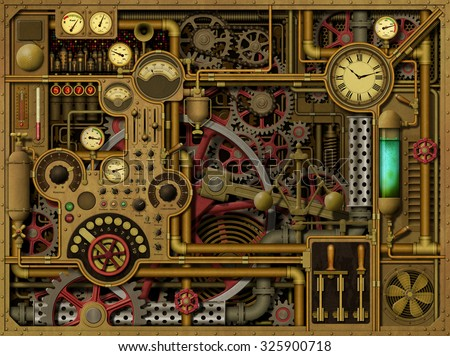 A Steampunk Background with Clocks, Dials, Gears and Cogs, Pipes and Switches. - stock photo