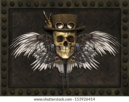 A Steampunk Skull on a metal plate background - 3d render. - stock photo