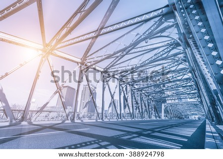 A steel bridge in Shanghai - stock photo
