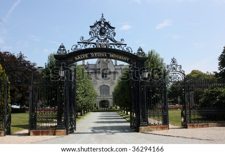 A steel gate access to Salve Regina University Newport RI