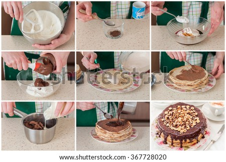 A Step by Step Collage of Making Cottage Cheese, Coffee, Chocolate and Hazelnut Crepe Cake - stock photo