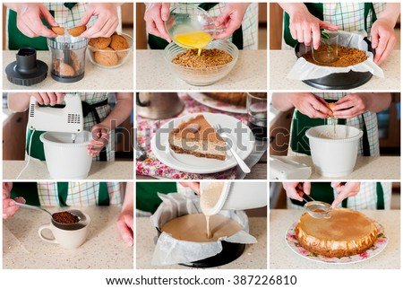 A Step by Step Collage of Making Spiced Coffee Quark Cheesecake - stock photo