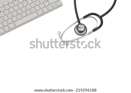 A Stethoscope and a modern keyboard isolated on white background - stock photo