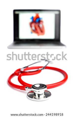 a stethoscope and laptop computer - stock photo