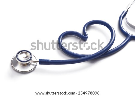 A stethoscope in the form of a heart - stock photo