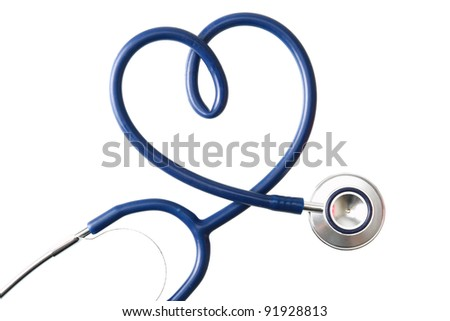 A stethoscope in the shape of a heart , isolated on white background - stock photo