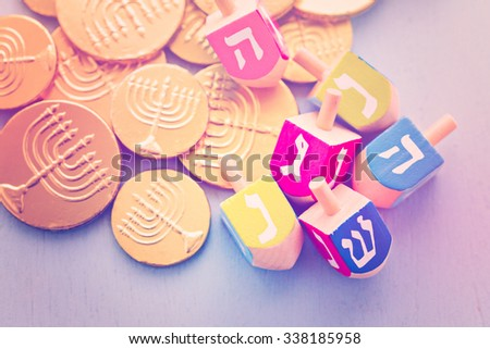 A still life composed of elements of the Jewish Chanukah/Hanukkah festival. - stock photo