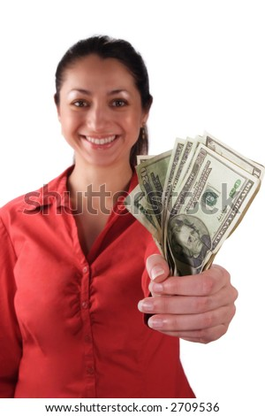 A stock image of a smiling Latino woman holding money in her clenched fist. Isolated on white. - stock photo