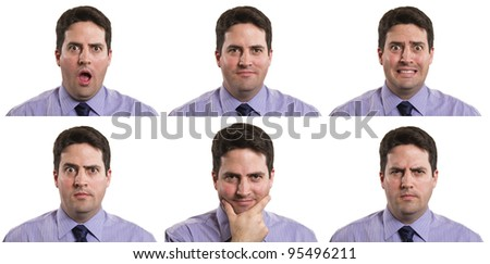 A stock photo of a business man with multiple expressions