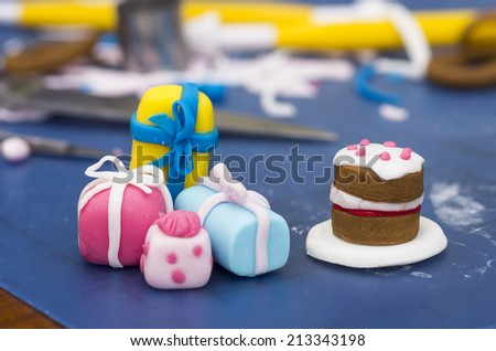 A stock photo of decorations made from fondant - stock photo