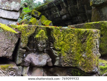 A stone carving on a wall at Ta Prohm temple, part of the Angkor Wat complex outside of Siem Reap, Cambodia.