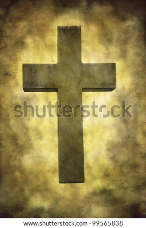 A stone cross textured in a grungy style. - stock photo