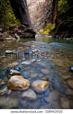 A stone in the river stream - stock photo