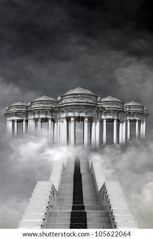 A stone staircase leading up to the temple of the Gods covered with swirling fog. - stock photo