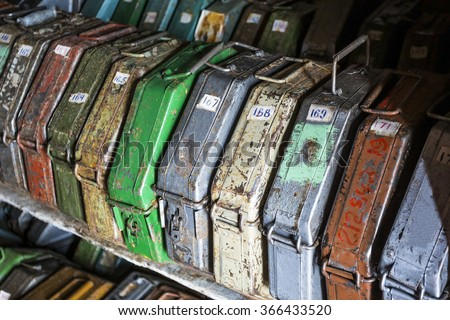 A storage of old film reels - stock photo