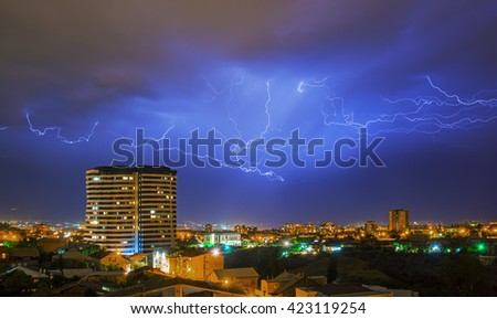 a storm with lightening in the night Yerevan, Armenia
