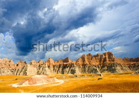 A stormy day the the Badlands national park south dakota - stock photo
