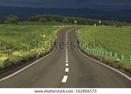 A straight road and the center line