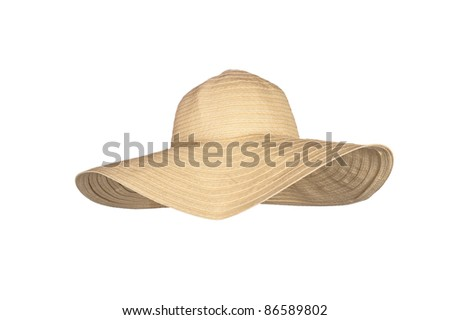 A straw beach sun hat isolated on white - stock photo