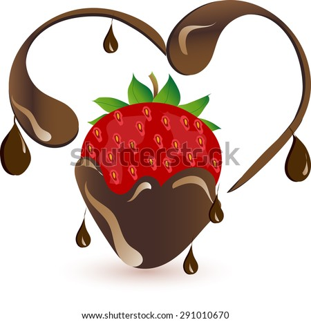 A strawberry is in a chocolate heart