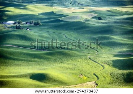 A stream flows around the wheat fields and hills of the farmland in the Palouse area of Eastern Washington and leads to a farm house in the upper left.