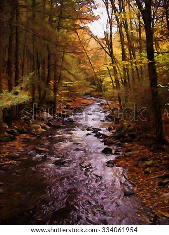 A stream in the Poconos of Pennsylvania in autumn transformed into a colorful digital painting