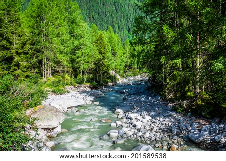 A stream trickling through rocks in the forest - stock photo