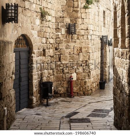 A street in Akko (Acre), Israel  - stock photo