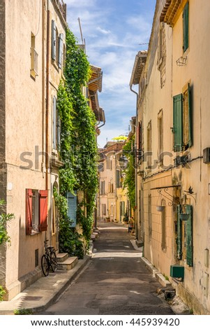 A street in the city of Arles in Bouches Du Rhone Cote d Azur - stock photo
