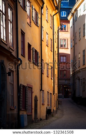 A street in the historic center of Stockholm. Sweden