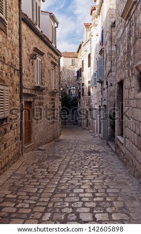 A street in the old town of Hvar, Croatia - stock photo