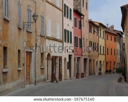 A street in the tuscan city San Quirico d'Orcia - stock photo