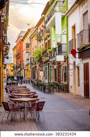 A street of old town in Europe. - stock photo