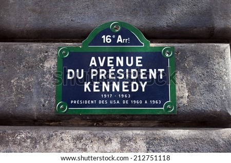 A street sign for Avenue du President Kennedy in Paris, named after the 35th President of the United States - John F. Kennedy. - stock photo