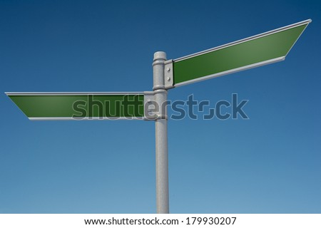 A street sign on a blue sky background