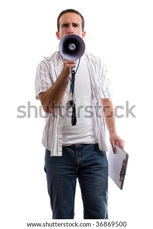 A strict coach is using his megaphone to yell at the viewer, isolated against a white background