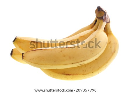 A string of banana isolated over white background. - stock photo