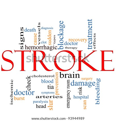 A Stroke word cloud concept with terms such as doctor, sudden, brain, bleed, signs, blockage and more. - stock photo