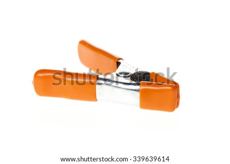 A strong spring tongs for camera equipment isolated white.  - stock photo